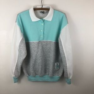 Choices Tops - Vintage partial button blue sweatshirt